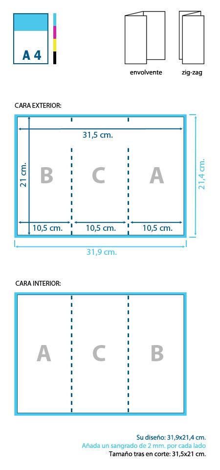 Esquema de diseño y corte de un tríptico en formato DL