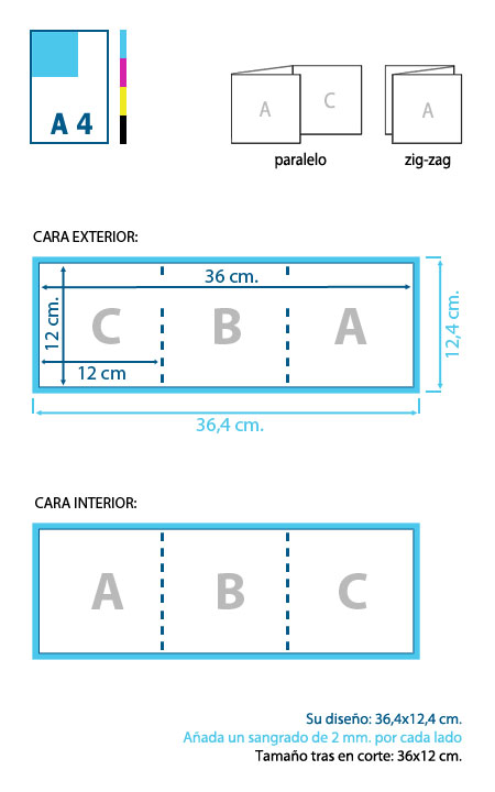 Esquema de diseño y corte de un tríptico de 12x12 cm.