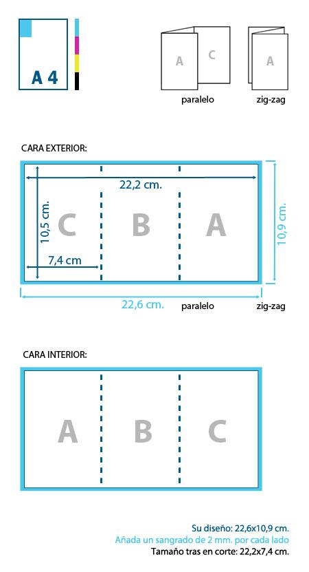 Esquema de corte y diseño de un tríptico A7