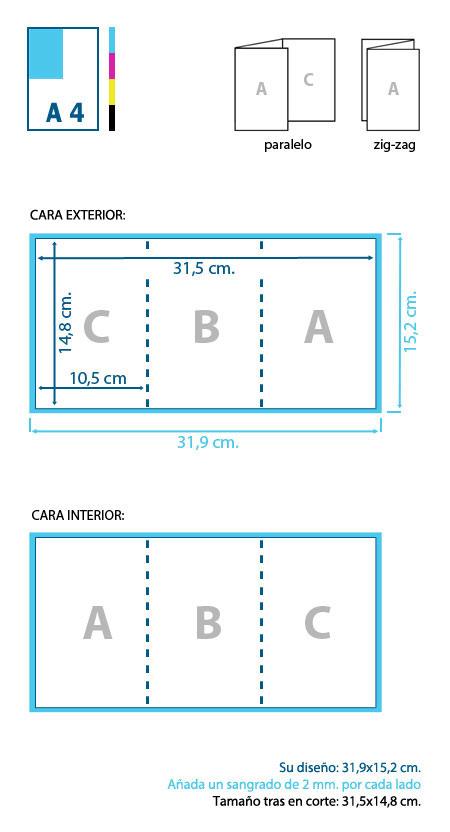 Esquema de diseño y corte de un tríptico formato A6